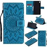 Aralinda Funda para Sony C6, diseño de flores de piel sintética con solapa y correa protectora con ranura para tarjetas/soporte compatible con Sony Xperia XA Ultra/C6 (6.0 pulgadas) (color azul)