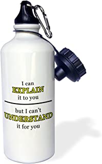 3dRose wb_223777_1 I'm The Crazy Aunt Everyone Warned You About Pink-Sports Water Bottle, 21 oz, White