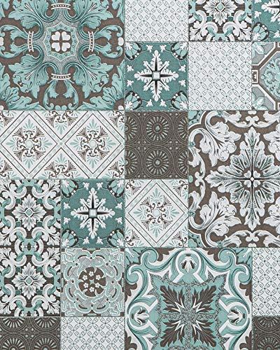 Küchen Bad Tapete EDEM 87001BR15 Vinyltapete leicht strukturiert mit Kachelmuster und metallischen Akzenten türkis grau-beige weiß silber 5,33 m2