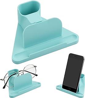 TXEsign Premium Silicone Standing Eyeglass Holder Phone Holder Stand Eyeglass Stand Holder Gadget Storage for Nightstand Desk Home Office (Blue)