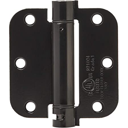 Spring Hinges 4 Inch With 5 8 Inch Square Corner Self Closing Adjustable Flat Black 2 Pack Amazon Com