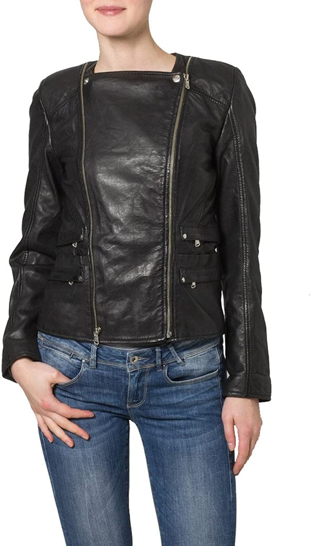 Women Leather Moto jacket Cycle Bomber Biker Outwear KLW114