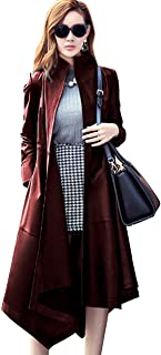 Women's Instyles Faux Leather Long Gothic Winter Overcoat Parka Coats