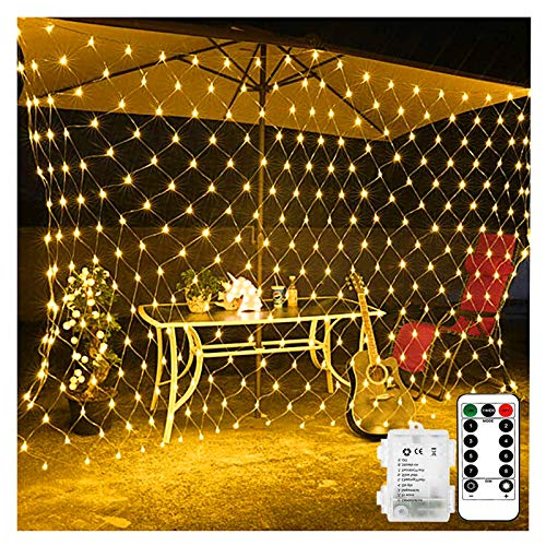 100 LED Battery Operated Net Mesh String Lights, 1.5M x 1.5M Fairy Net Lights with Remote & Timer, Clear Cable and Waterproof, Outdoor Fence Icicle Lights for Garden/Wedding/Christmas (Warm White)