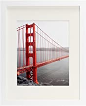 Frametory, 11x14 White Picture Frame - Made to Display Pictures 8x10 with Mat or 11x14 Without Mat - Wide Molding - Pre-Installed Wall Mounting Hardware