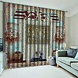 QKDSDM Cortina Salon Dormitorio Moderno con Sombreado Aislamiento térmico y reducción de Ruido Decoración Hogar 2 Piezas Egipto 280X245CM