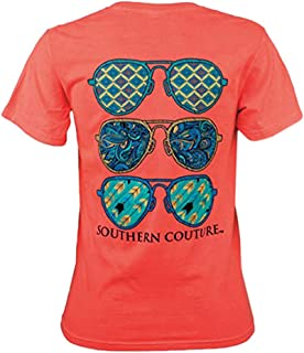 Southern Couture SC Comfort Wild Aviators Womens Classic Fit T-Shirt - Neon Red Orange