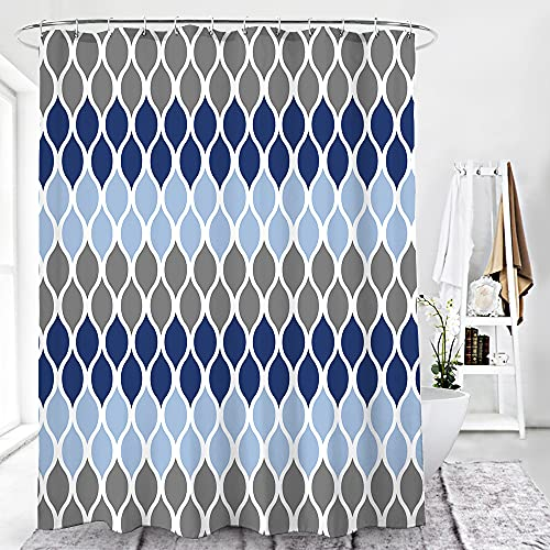 LILYWISH Geometric Patterned Ombre Blue Shower Curtain for Bathroom Modern Popular Polyester Fabric Bathroom Decor Waterproof Washable Weighted with 12 Hooks 72x72 Inches Navy/Blue/Grey