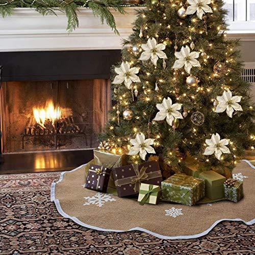 Gonna per Albero di Natale Squisito,Fiocco di Neve Bianco Stampato Tela Albero Gonna,Gonna Albero di Natale Fiocco di Neve,Gonna Copertura di Base Albero,Tappetino per Albero di Natale(90 cm)