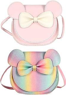 Milya 2 Stück Süße Mädchen Glitzer PU Leder Umhängetasche, Schleife Prinzessin Mini Taschen, Kinder Cross Body Handtasche ...
