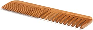 BASS BRUSHES Bamboo Wood Tortoise Comb Large, Wide and Fine Tooth