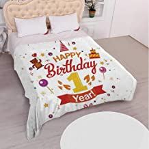 YOLIYANA 1st Birthday Decorations Various Flannel Blanket,Birthday Party with Cones Teddy Bear Candies and Cake for Hotel,68