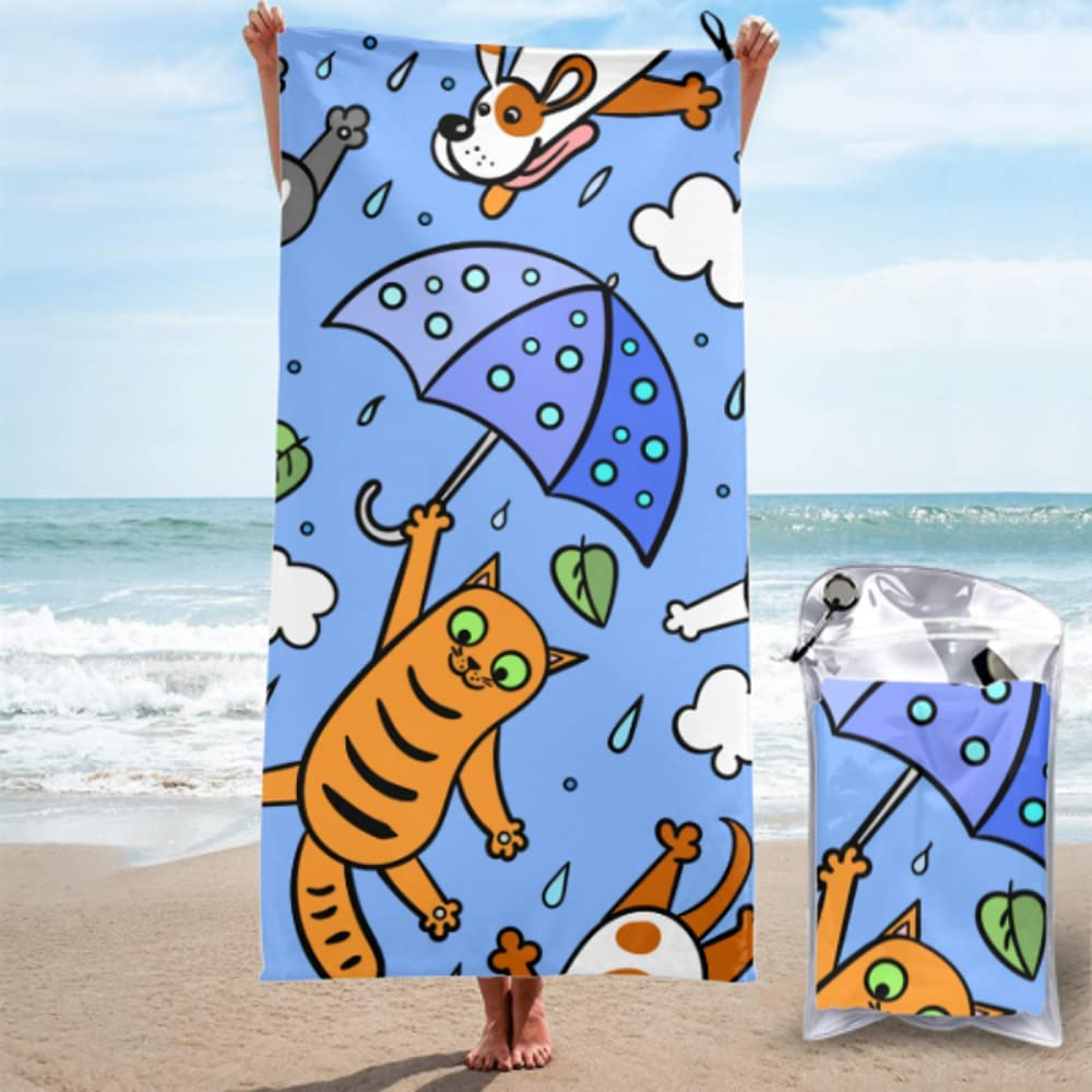 AIKENING Camping Towel Funny Topics on TV Its Beach Graphic Raining Cats Gorgeous Dogs