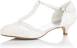 b4c1c228b066e6 JIAJIA 01129 Women s Bridal Shoes Closed Toe T-Strap Low Heel Lace Satin  Pumps Imitation