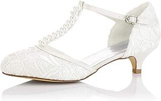 01129 Women's Bridal Shoes Closed Toe T-Strap Low Heel Lace Satin Pumps Imitation Wedding Shoes