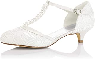 JIAJIA 01129 Women's Bridal Shoes Closed Toe T-Strap Low Heel Lace Satin Pumps Imitation Wedding Shoes