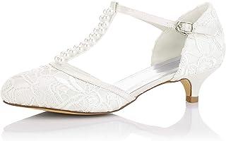 JIA JIA Chaussures de Mariée pour Femme 01129 Bout Fermé T-Strap Bas Talon Dentelle Satin Pompes Imitation Chaussures de M...