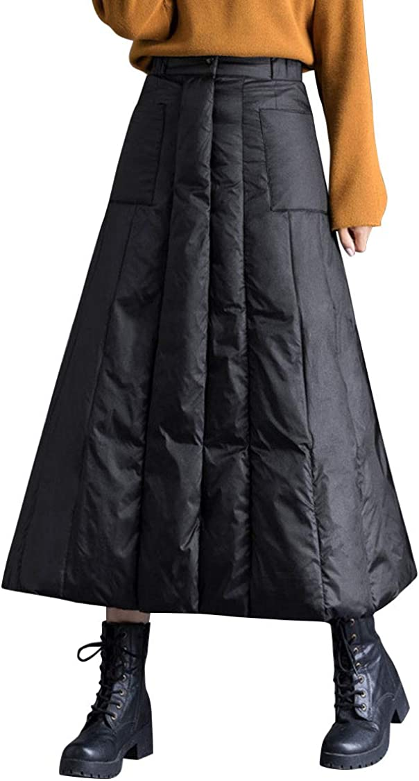 ebossy Women's Insulated Long Down Skirt Winter Windproof Warm Padded A-Line Skirt