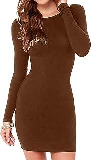 فستان قصير ضيق مثير بأكمام طويلة للنساء من Hioinieiy مثير ضيق للحفلات فستان سهرة قصير