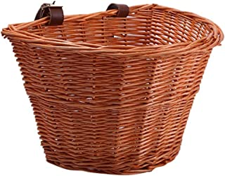 Wicker D-Shaped Bike Basket, 4 Portable Hand-Woven Shopping Basket Folk Craftsmanship Bicycle Handlebar Storage Basket with Leather Straps for Women Girls Kids