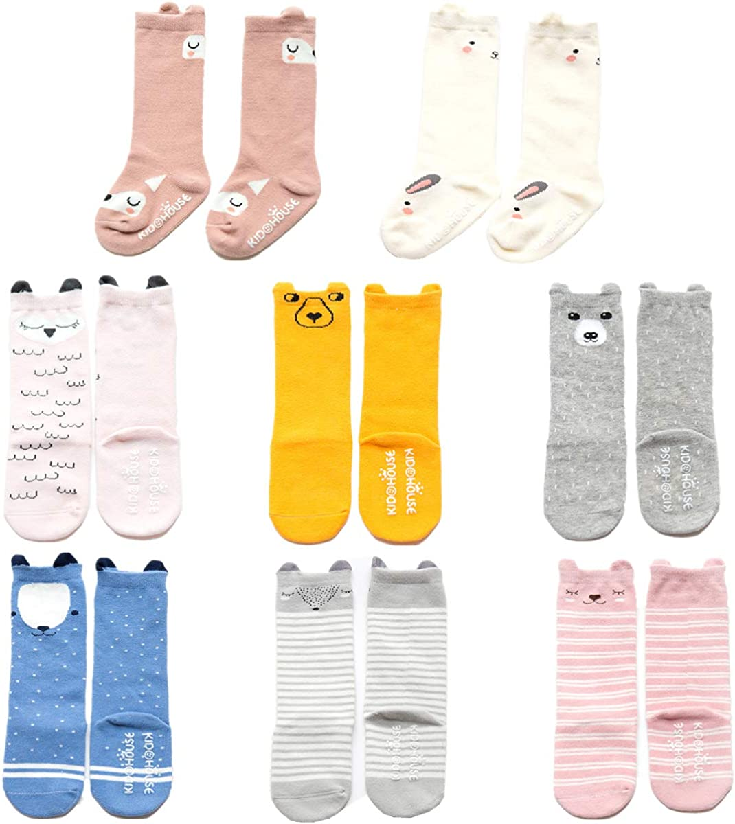 8 Pairs Baby Toddler Knee High Non Skid Socks with Grips for Girls and Boys