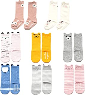 Baby Toddler Girls Boys Knee High Socks, Kid Anti Slip Cartoon Animal 8 Pairs Cotton Stockings