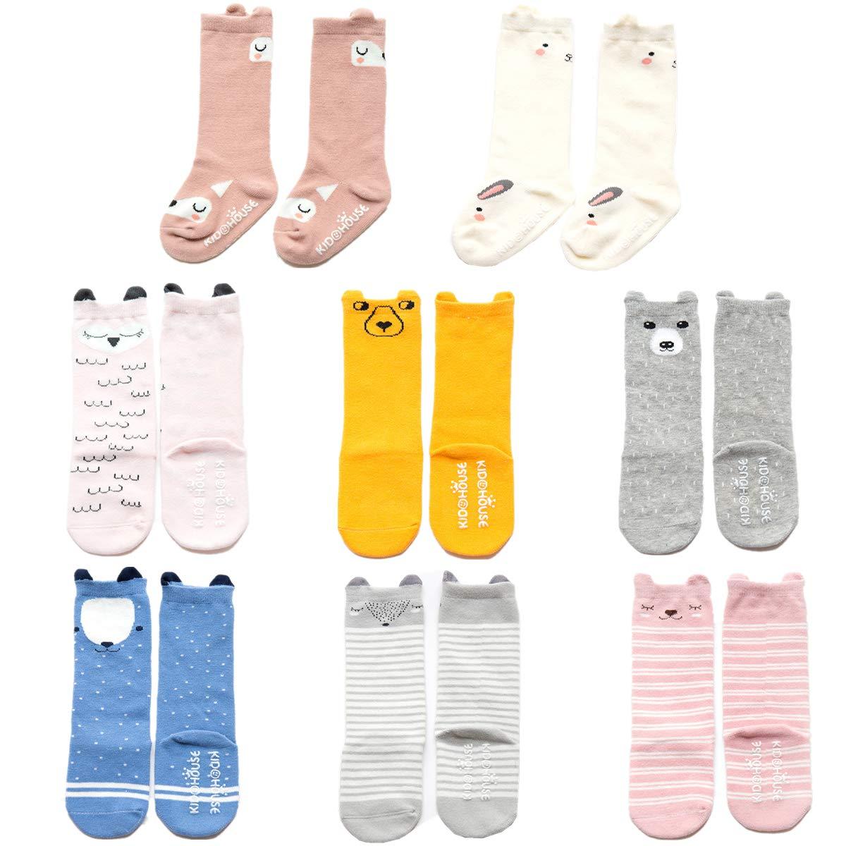 Fasker 6 Pairs Unisex Baby Girls Socks Knee High Socks Animal Baby Stockings