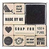 Rico-Design Stempelset Seife 11teilig - 10 Motive zum Bedrucken und Basteln