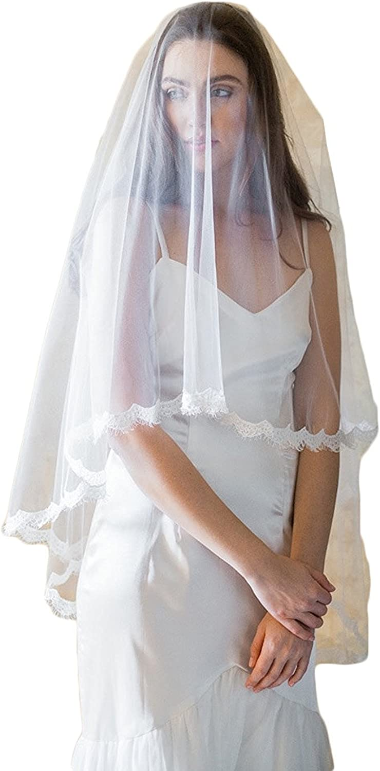 Fenghuavip Covering Face Veil with Lace Edge with Comb