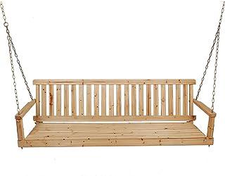 Outdoor Furniture Banco de oscilación del pórtico de Madera Maciza 48 Pulgadas con Cadena de Metal, con reposabrazos y Respaldo Silla Colgante Mecedora de Ocio, para terraza con jardín al Aire Libre