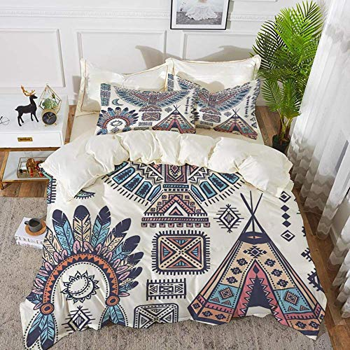 916 Tribal,Ethnic Teepee Tents Eagle Symbol Moon Sun and Feather Chief Hat Print Decorative,Hypoallergenic Microfibre Duvet Cover Set 200 x 200cm with 2 Pillowcase 50 X 80cm