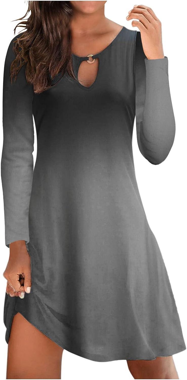 Hemlock Women Long Sleeve Dress Solid Color Tunic Swing Dress Slim Work Dress Fall Autumn Dresses