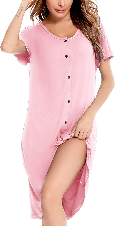 Sexqero Women's Nightgown Short Sleeve Nightshirt Button Down Sleepwear V-Neck Pajama Dress