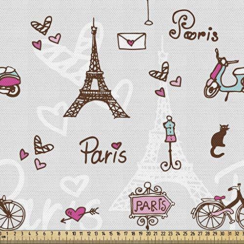 ABAKUHAUS Materiał Paris jako towar na metry, miasto miłości i mody, wysokiej jakości materiał dekoracyjny, tkanina tekstylna do domu, 2 m (148 x 200 cm), Redwood perłowy różowy