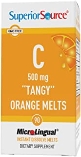 Superior Source Vitamin C 500 mg Sublingual Tablets - Buffered VIT C Tangy Orange Melts - Immune System Booster, Energy Vi...