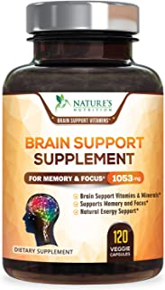 Sponsored Ad - Brain Supplement 1053mg - Premium Nootropic Brain Support - Made in USA - Naturally Supports Focus and Clar...