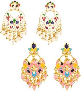 Yellow Chimes Combo 2 Pairs Stylish Meenakari Chandbali Earrings for Women and Girls…