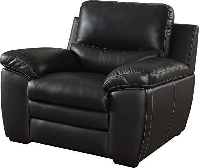 Benjara Benzara Leather Upholstered Chair with Cushioned Seat, Black