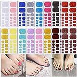 Toenail Nail Sticker Set, Nail Polish Stickers Nail Art Decals Stickers for Manicure, Toe Nail Art Adhesive Foils, Self-Adhesive Nail Polish Wraps (16 Sheet)