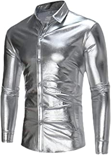 Miracle Mens Fashion Basic Sequins Liquid Button Front Long Sleeve Nightclub Shirts