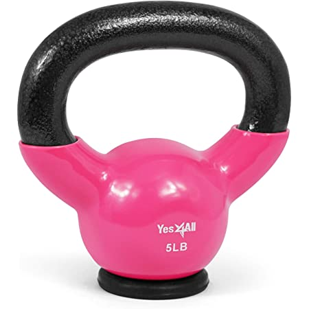 Yes4All Vinyl Coated Kettlebells With Protective Rubber Base – Weight Available: 5, 10, 15, 20, 25, 30, 35, 40, 45, 50 lbs