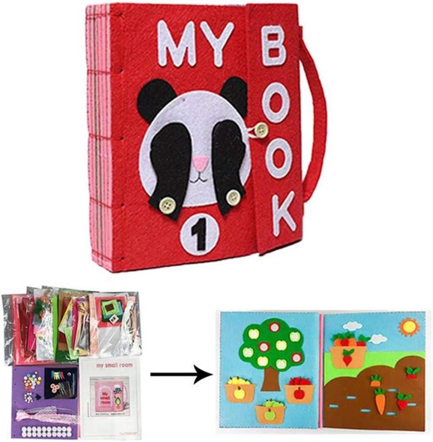 XIANGBAO DIY Libro Quiet Fieltro Libros de beb/é temprano del Desarrollo cognitivo Juguetes Hechos a Mano Libro Educativo para el Cabrito del pa/ño del beb/é Libro