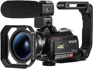 Ordro AC5 4Kビデオカメラ光学ウルトラHD WiFiビデオカメラ(12倍光学ズーム、3.1インチIPSタッチスクリーン、マイク、ワイドレンズ、レンズフード、2電池) - ブラック