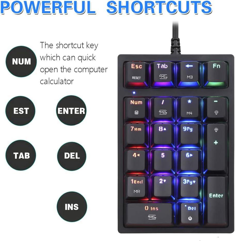 peque/ño teclado con retroiluminaci/ón RGB para un dise/ño avanzado del cajero mini teclado num/érico de 21 teclas MOTOSPEED Teclado num/érico K24 port/átil