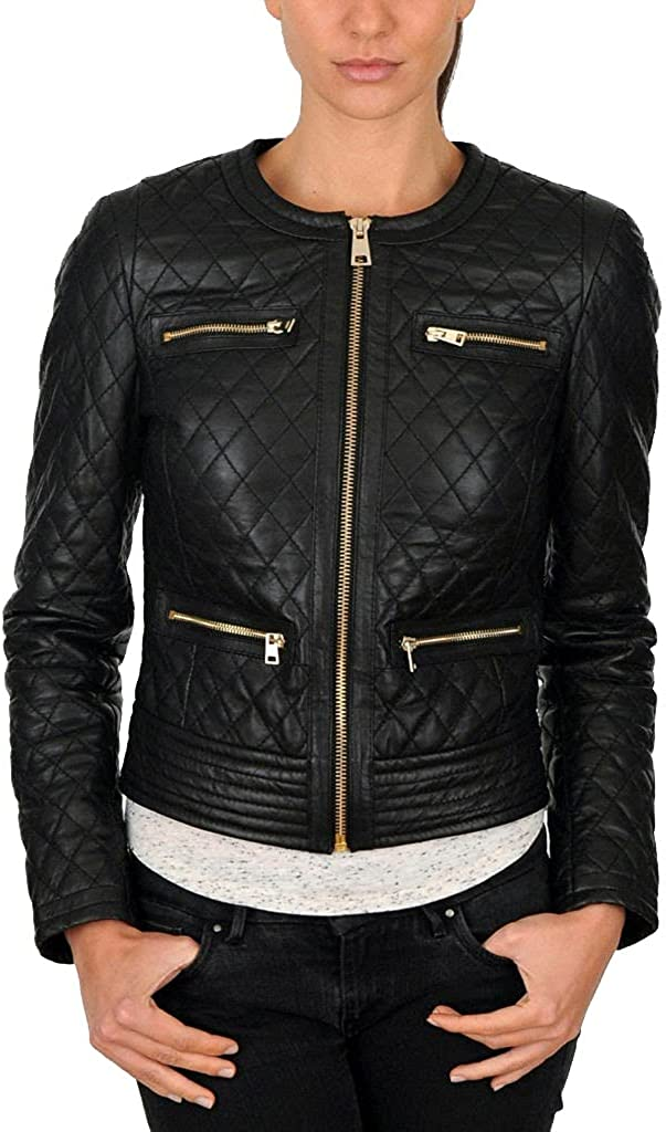 Prime-Fashion Women's Black Quilted Slim Fit Biker Style Moto Real Leather Jacket