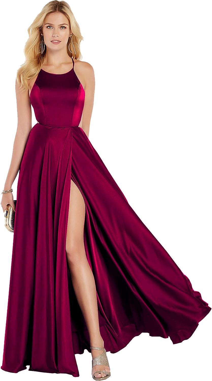 Beauty Bridal Halter Neck Long Prom Dresses for Women ALine Split Formal Evening Party Gown Z19