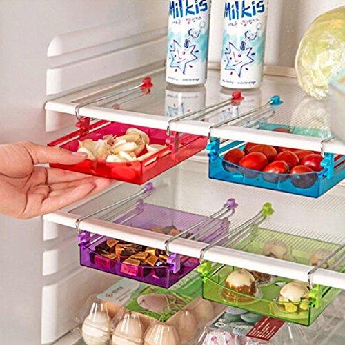 Bluelover Mehrzweck Kühlschrank Lagerung Schublade Kühlschrank Organizer Space Saver Shelf Grün