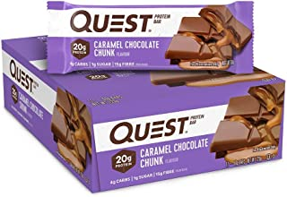 Quest Nutrition Caramel Chocolate Chunk Protein Bar, High Protein, Low Carb, Gluten Free, Keto Friendly, 12 Count