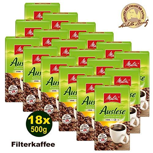 Melitta Auslese klassisch-mild Filterkaffee 18 x 500g (9000g) - Melitta Café gemahlen
