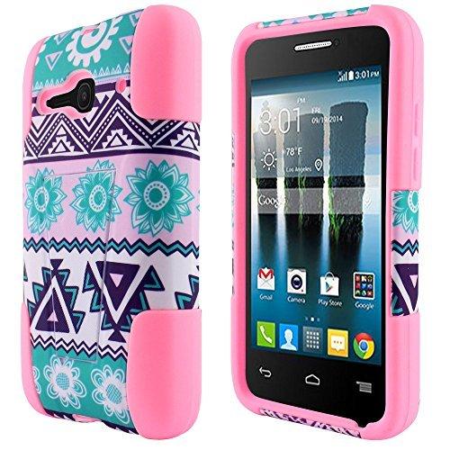 "2 items Combo: Stylus Pen + Dual Layer KickStand Tuff Impact Armor Hybrid Case for T-Mobile/MetroPcs Alcatel OneTouch Evolve 2/4037 (4.0"" Screen Size) (Tribal Aztec Blue Sun Flower - Light Pink)"